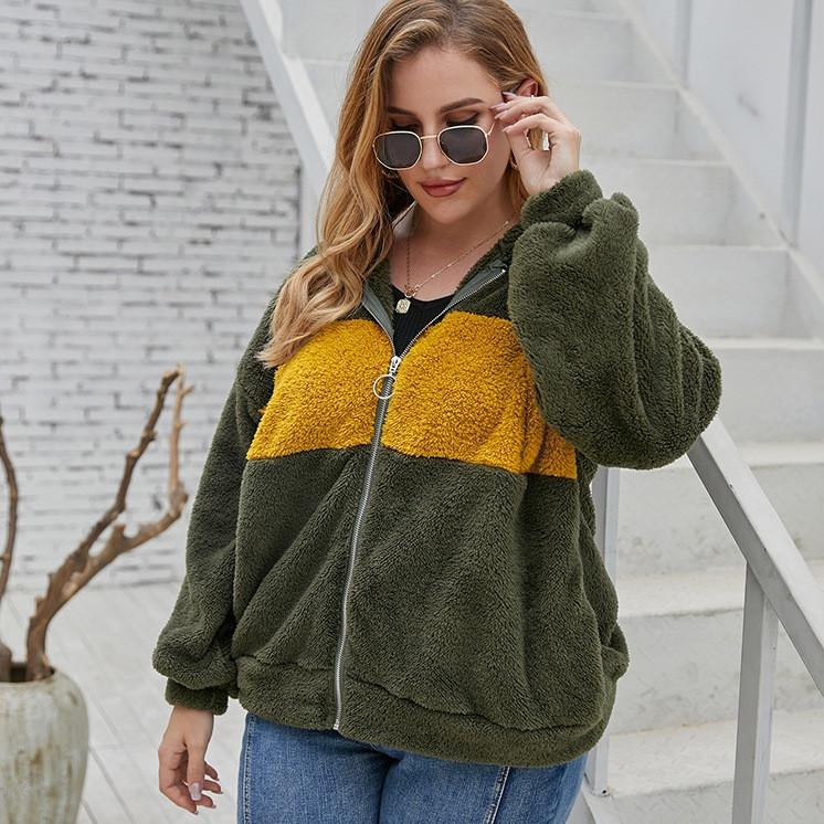 Толстовка жіноча на блискавці Yellow stripe Berni Fashion PLUS (XL)