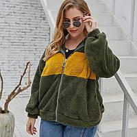 Толстовка жіноча на блискавці Yellow stripe Berni Fashion PLUS (XL), фото 1