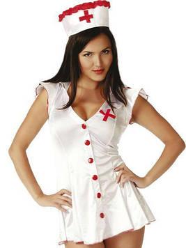 Рольовий костюм медсестри з червоними ґудзиками S/M