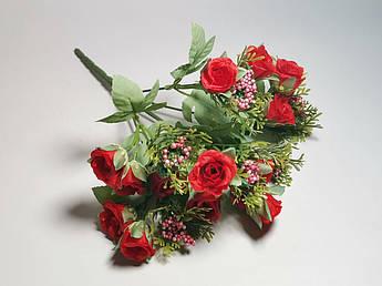 Искусственные цветы. Букет мелких роз, красный.