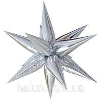 Фольгированная Звезда 3D серебряная 65х65 см