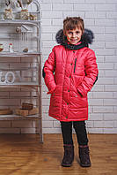 Пальто зимнее для девочки с латками коралл, фото 1