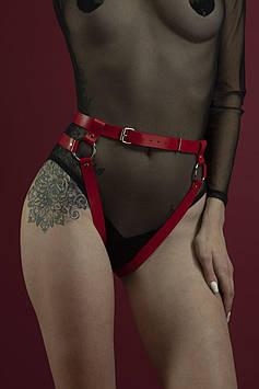 Гартеры Feral Feelings - Belt Briefs, трусики, натуральная кожа, цвет красный