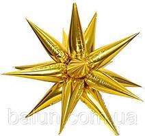 Фольгированная Звезда 3D золотая 65х65 см