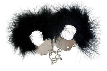 Металеві Наручники Adrien Lastic Handcuffs Black з чорної пухнастою обробкою