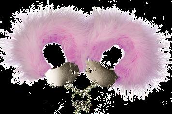 Металеві Наручники Adrien Lastic Handcuffs Pink з рожевою обробкою пухнастою