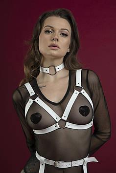 Портупея на грудь Feral Feelings - Harness Bra, лиф, натуральная кожа, цвет белый