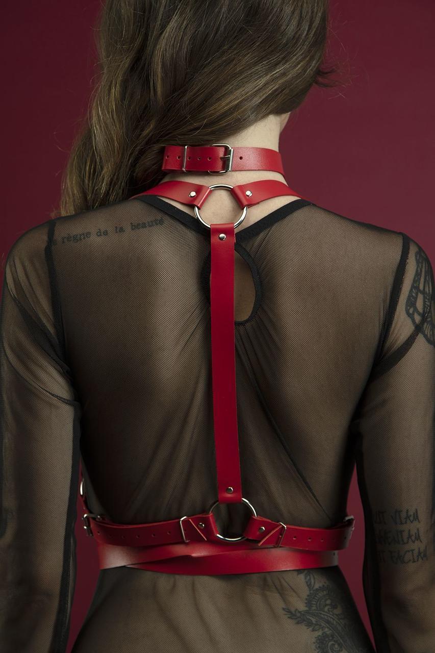 Портупея на тіло Feral Feelings - Harness, натуральна шкіра, колір червоний