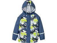 Детский Дождевик полеуретан без утеплителя, Куртка, синяя с салатовым Грязепруф, Lupilu 86-92