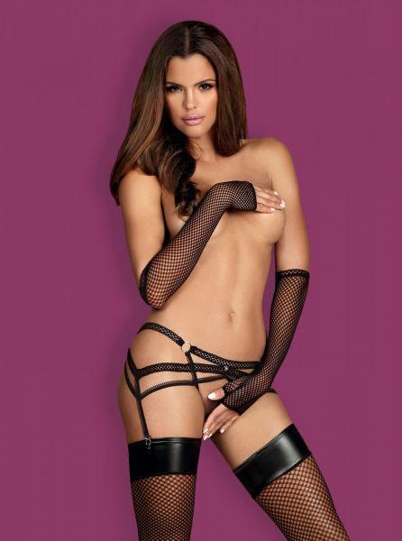 Пояс для чулков Obsessive Darkie garter belt black S/M
