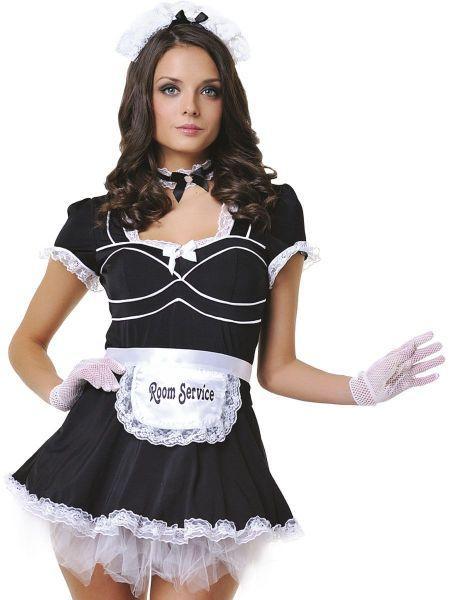 Костюм горничной черное платье 6 предметов S/M
