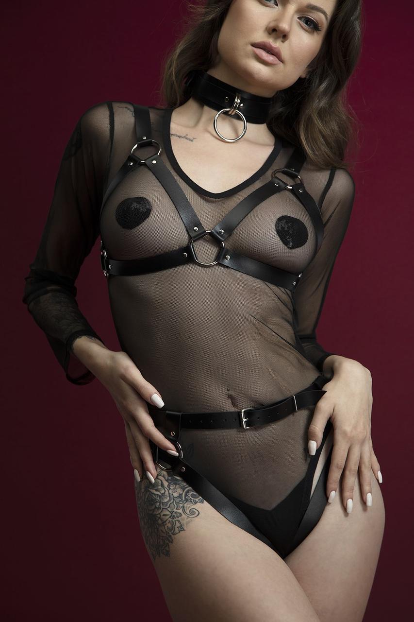 Портупея на груди Feral Feelings - Harness Bra, ліф, натуральна шкіра, колір чорний