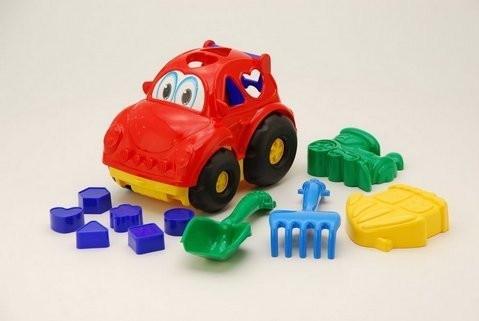 """Сортер машинка """"Автошка №2"""" (червона) для пісочниці! ігровий набір для піску!"""