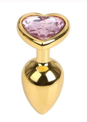 Анальна пробка Gold Metall Heart Light Pink, M