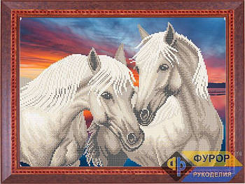Схема для вышивки бисером картины Пара лошадей на закате (ЖБч3-017)