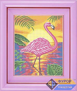 Схема для вышивки бисером картины Розовый фламинго в лучах заката (ЖБп3-018)