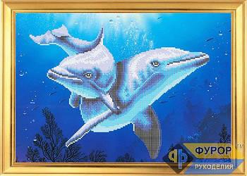 Схема для вышивки бисером картины Дельфины (ЖБч3-023)