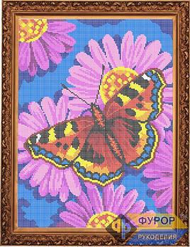 Схема для вышивки бисером картины Бабочка на цветке (ЖБп3-024)