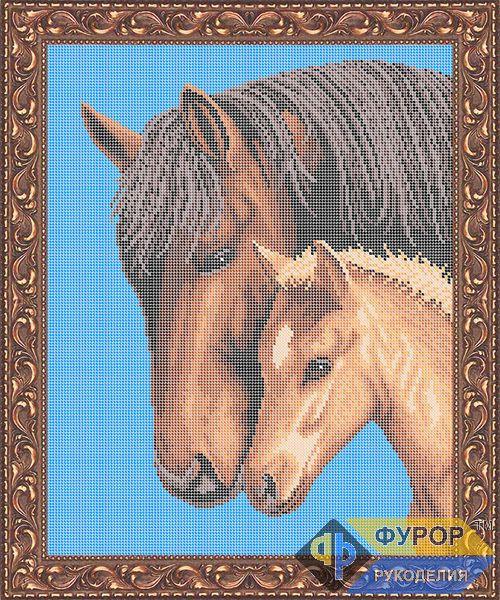 Схема для вишивки бісером картини Кінь з лошам (ЖБп3-043-1)