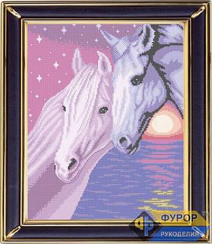 Схема для вышивки бисером картины Пара лошадей на закате (ЖБп3-010)