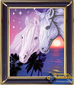 Схема для вышивки бисером картины Пара лошадей на закате (ЖБч3-011)