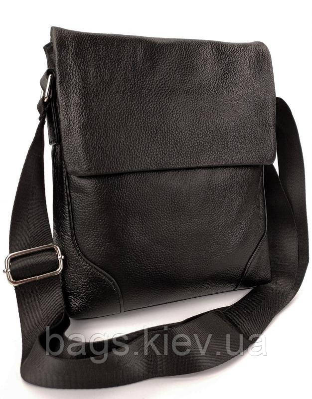 Чорна чоловіча шкіряна сумка через плече Tiding Bag M38-29A