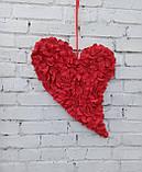 Декоративне червоне серце з пелюсток троянд, фото 3