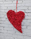 Декоративне червоне серце з пелюсток троянд, фото 2