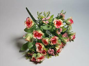 Искусственные цветы. Букет мелких роз, коралловый