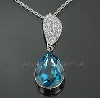 Прелестный кулон с кристаллами Swarovski + цепочка, покрытые платиной  (302711)