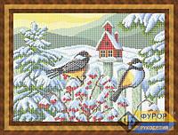 Схема для полной вышивки бисером - Синички на заборе зимой, Арт. ЖБп3-51