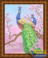 Схема для вышивки бисером - Павлины на ветке сакуры, Арт. ЖБч3-056-3
