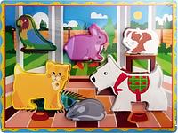 Деревянная игрушка Рамка-вкладыш MD 2195 (Домашние животные)