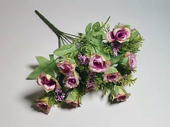 Искусственные цветы. Букет мелких роз, нежно-сиреневый.