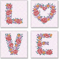 Набір для розпису по номерах. LOVE flowers 18*18 см*4 шт. CH125