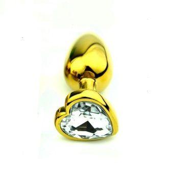 Анальная пробка Gold Metall Heart Diamond, S