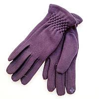 Жіночі трикотажні рукавички з сенсорним пальцем на хутрі сині