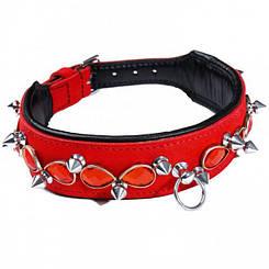 Нашийник Leather Jewel & Spike, Red