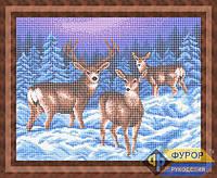 Схема для вышивки бисером - Три оленя зимой, Арт. ЖБп3-66