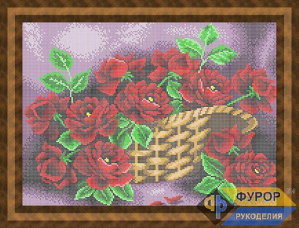 Схема для вышивки бисером картины Розы в корзине (НБп3-067)