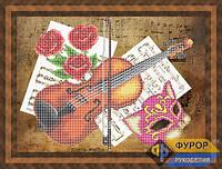 Схема для вышивки бисером - Скрипка и розы, Арт. НБч3-070