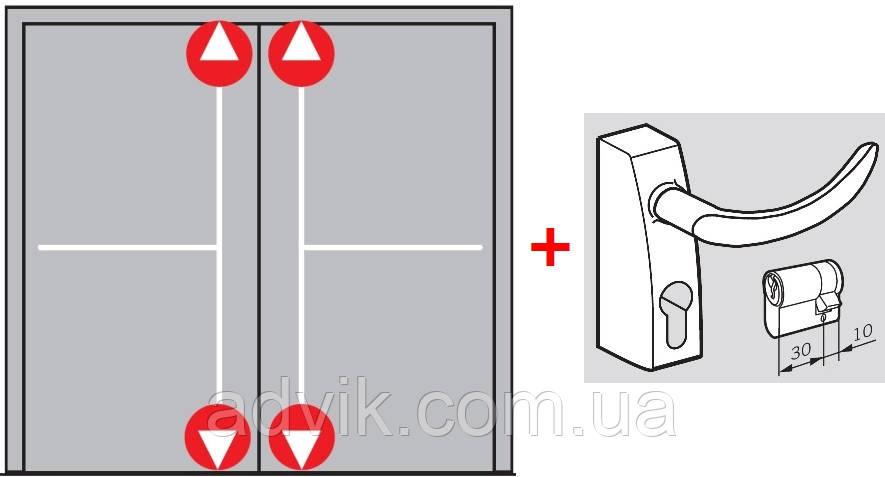 Антипаника Dorma PHA 2000 для 2-створчатой двери без штульпа с 4-точечным запиранием с внешней ручкой