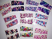 10 штук! Цветы наклейки слайдеры на весь ноготь. Слайдер дизайн для декора ногтей водные наклейки на гель лак