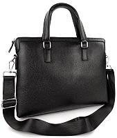 Деловая сумка-портфель мужская кожаная для ноутбука и документов черная Tiding Bag, фото 1