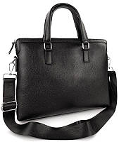 Деловая сумка-портфель мужская кожаная для ноутбука и документов черная Tiding Bag