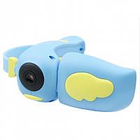 Детский фотоаппарат видеокамера Kids Camera DV-A100 Птичка Голубая (NJ)