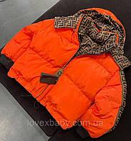 Пуховик женский Fendi Оранжевый; Брендовая женская Одежда; Зимняя женская курточка с принтом