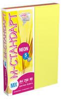 Бумага цветная  М-Стандарт   A4 mix NEON  5 цветов*50листов, 250листов  163160