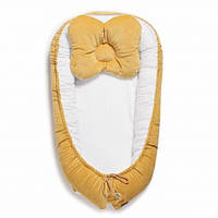 Кокон-гнездо для новорожденных, позиционер для сна с жесткими бортиками двухсторонний Velvet Twins, желтый