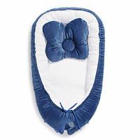 Детский двухсторонний кокон-гнездо с жесткими бортиками Velvet Twins, синий. подарок новорожденному